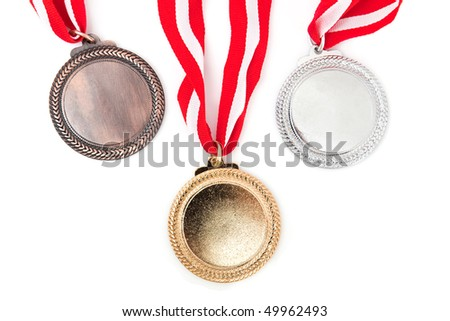medals with red ribbon on white background