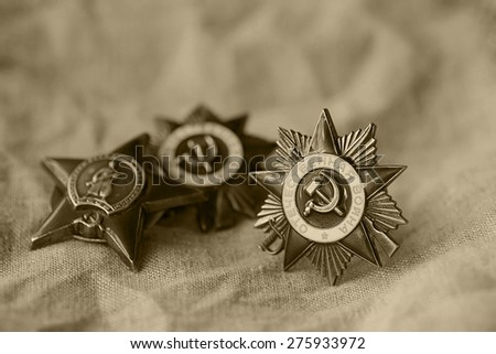 medals WWII war hero of the USSR - stock photo