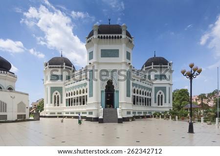 Medan Grand Mosque, North Sumatra, Indonesia - stock photo