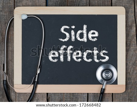 Medecine concept. Blackboard with word Side Efects and stethoscope - stock photo