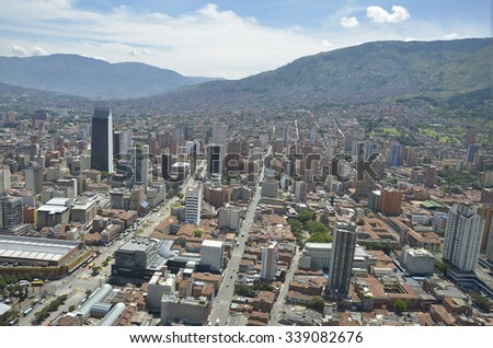 Medellin Colombia. June 23th, 2013. Downtown Aerial View