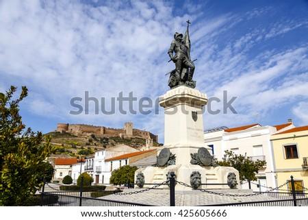 Medellin, Spain - March 17, 2016: Statue of Hernan Cortes, Mexico conqueror, Medellin, Extremadura Spain - stock photo