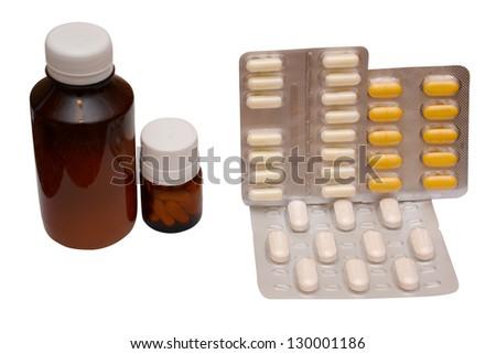 medetsinskie pills on white background - stock photo