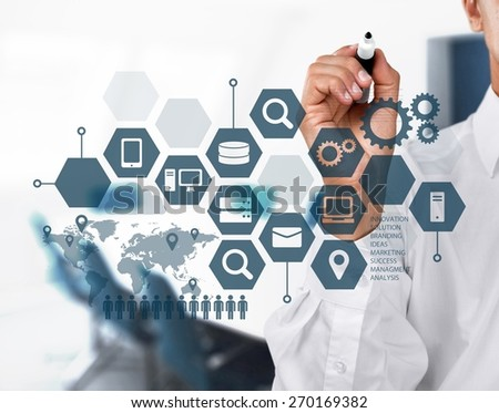Media. Businessman working with new modern computer show social network structure - stock photo