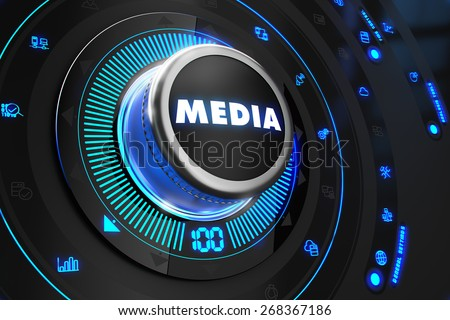 Media Button with Glowing Blue Lights on Black Console. - stock photo