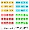 Media buttons flat set. Raster version - stock photo