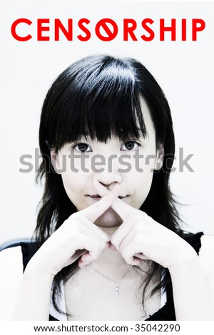 Media Censorship in Asia with Young Asian - stock photo