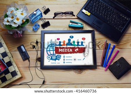 Media design concept and group of people on wooden office desk. Media concepts for business, consulting, finance, management.   - stock photo