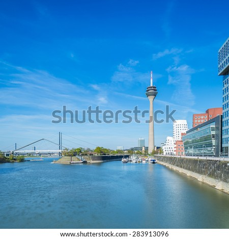 Media harbor and tower in Dusseldorf, Germany