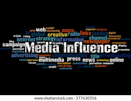 Media Influence, word cloud concept on black background.