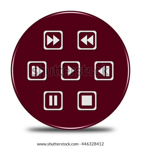 media player control button 3d illustration