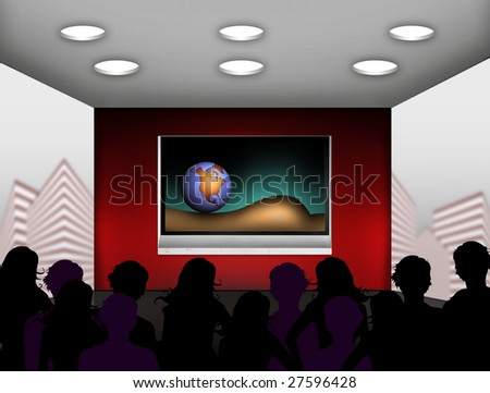 media room with plasma television on the wall - stock photo