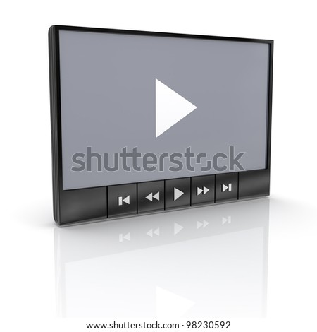 Media video player with reflection on white - stock photo