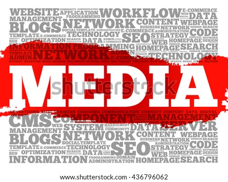 Media word cloud, business concept - stock photo