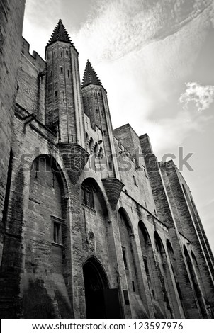 Mediaeval pope's palace in Avignon, Provence, southern France - stock photo
