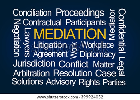 Mediation Word Cloud on Blue Background - stock photo