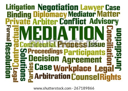Mediation word cloud on white background - stock photo
