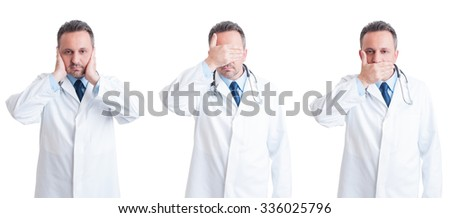 Medic or doctor in three stances blind, mute and deaf  in wide image isolated on white background - stock photo