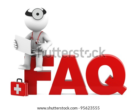 Medic sitting on FAQ sign. Frequently asked questions concept. Isolated - stock photo