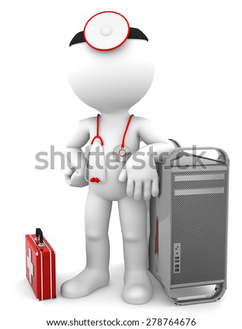Medic with computer. Computer repair concept. Isolated on white background