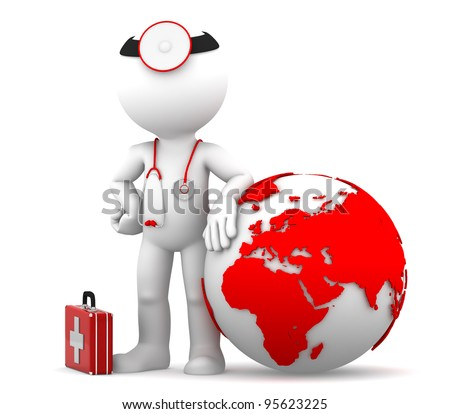 Medic with globe. Global medical services concept. Isolated - stock photo