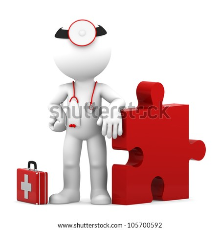 Medic with piece of puzzle. Conceptual medical illustration. Isolated - stock photo