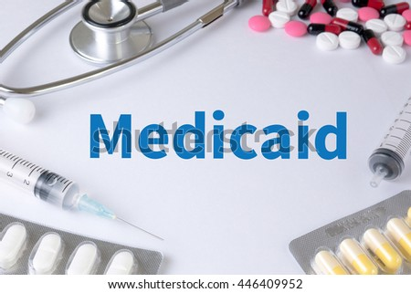 Medicaid Text, On Background of Medicaments Composition, Stethoscope, mix therapy drugs doctor flu antibiotic pharmacy medicine medical