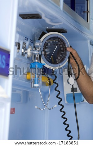 medical ambulance interior details with emergency equipment - stock photo