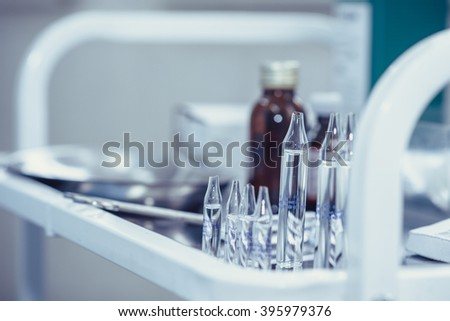 Medical ampoules for injection - stock photo