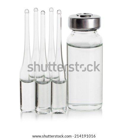 Medical ampoules for injections, closeup - stock photo