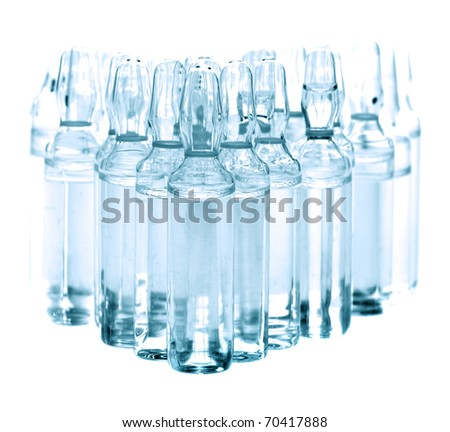 medical ampoules on white background - stock photo