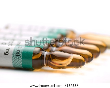 medical ampules in the row ,closeup ,shallow DOF, for various medical,health care or pharmacy themes