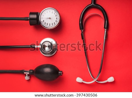 Medical background. Cardiologi medical tools - stock photo