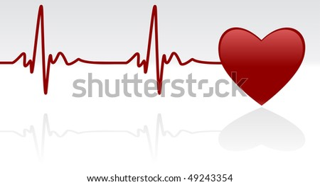 Medical background - heart and heartbeat symbol on reflective surface - stock photo