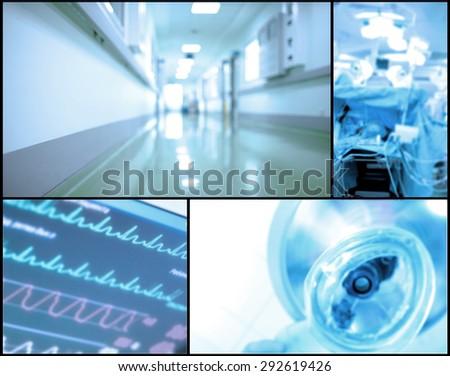 Medical background set of blurred photos - stock photo
