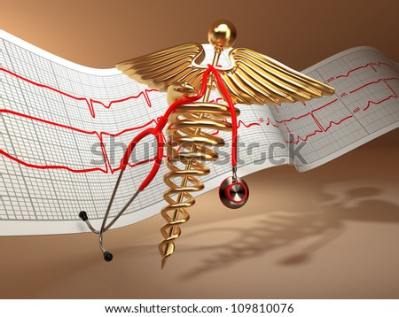 Medical background. Stethoscope, caduceus symbol  and cardiogram. 3d - stock photo