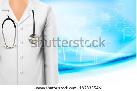 Medical background with a female doctor's lab white coat and stethoscope. Raster version. - stock photo