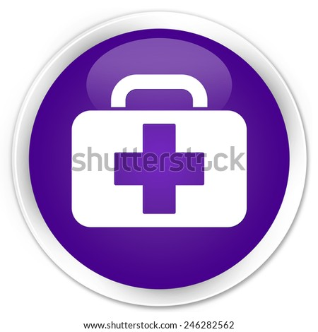 Medical bag icon purple glossy round button - stock photo