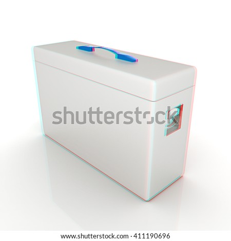 Medical bag on a white background. 3D illustration. Anaglyph. View with red/cyan glasses to see in 3D.