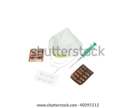 medical bandage and syringe - stock photo