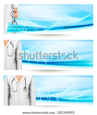 Medical banners with a doctor's lab white coat and stethoscope. Raster version. - stock photo