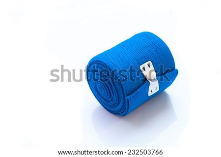 Medical blue elastic Bandage isolated on white background - stock photo