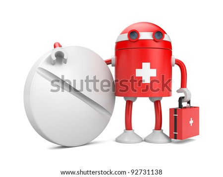 Medical bot with pill. Image contain clipping path - stock photo