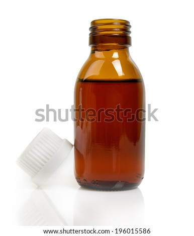 Medical bottle of brown glass with liquid Isolated on white background  - stock photo