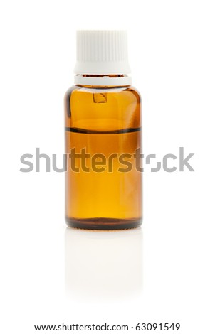Medical bottle with dropper isolated on white background - stock photo