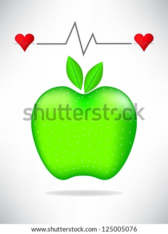 Medical card with green apple - stock photo