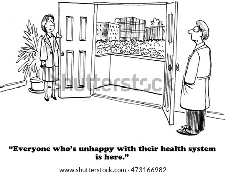 Medical cartoon showing a large crowd of people who are dissatisfied with their healthcare insurance program.