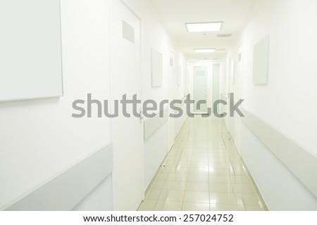 Medical center corridor interior  - stock photo
