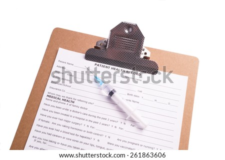 Medical Chart and Syringe with clear fluid isolated on white background - stock photo