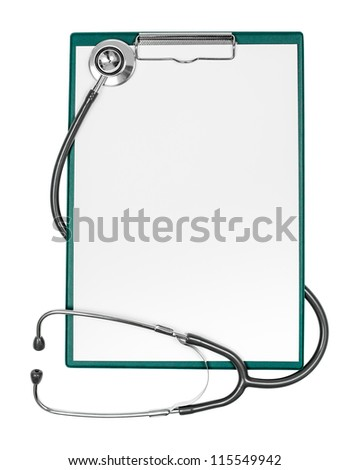 medical clipboard with blank paper sheet and stethoscope - stock photo